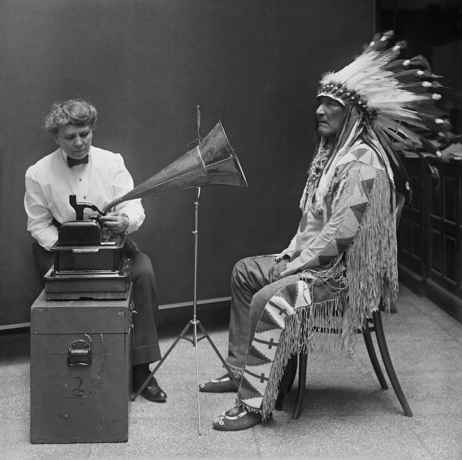Frances Densmore recording Mountain Chief